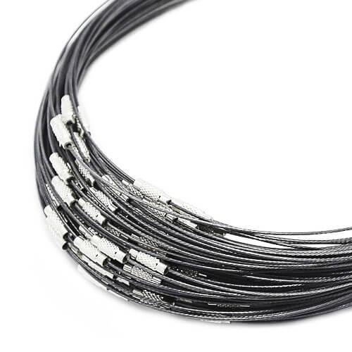 Spang ketting voor hangers, kralen en bedels. Staaldraad halsketting
