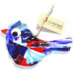 Blauw-oranje glazen vogel gemaakt van speciaal glas. Exclusieve glaskunst decoratie voor huis en tuin!