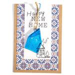 Dubbele kraft kaart met glazen kunstwerkje van een huis. Happy NEW HOME!!