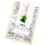 Mintgroene kerstkaart met zwart-witte print en groene glazen kerstboom hanger. Dubbele kaart incl. envelop.