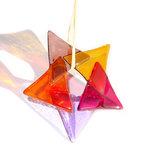 Super mooie kerstster van gekleurd glas in paars, roze, oranje, lila en ambergeel kleuren.