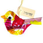 Prachtige paars, rood, roze en geel gekleurde vogelhanger van glas.