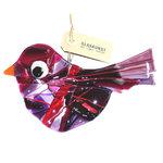 Grote paars-rode glazen vogel hanger. Glasfusing vogel hanger handgemaakt in eigen atelier van paars, rood en roze glas.