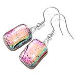 Roze oorbellen gemaakt van prachtig roze glas! Luxe lange oorhangers uit eigen atelier