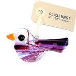 Glazen vogel hanger van prachtig paars, roze en lila glas. Glaskunst uit eigen atelier!