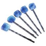 Brons/donkerbruine haarschuifjes met speciaal blauw glas. Set van 5 unieke haarschuifjes.
