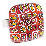 Rode glazen ring met prachtige rode millefiori sterren! Handgemaakt in eigen atelier van Murano glas.