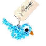 Kleine glazen vogel handgemaakt van helder glas met blauwe accenten op het glas.