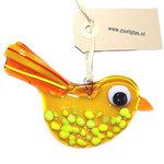 Prachtige oranje met gele vogelhanger van glas. Glazen vogel hanger van speciaal glas gemaakt in eigen atelier d.m.v. glasfusin