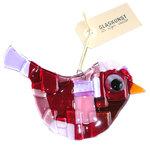 Glazen vogel hanger van prachtig rood, paars, roze en lila glas. Glaskunst uit eigen atelier!
