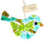 Grote groen-blauwe glazen vogel. Unieke decoratie vogel glashanger voor in de tuin.