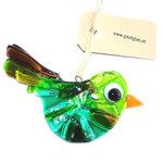 Groene glazen vogel hanger van speciaal glas. Unieke glasfusing vogel hanger. Decoratie vogelhanger