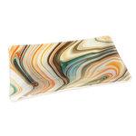 Handgemaakte glazen schaal met oranje, bruine, grijze en turquoise/blauwe tinten.