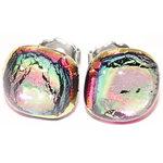 Handgemaakte roze glazen oorknopjes. Exclusieve roze RVS/chirurgisch staal oorstekers.