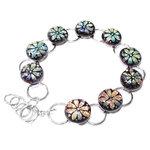 RVS armband met glazen cabochons met bloemen met een oranje-koper-groen-blauwe gloed