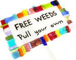 """Grote plantensteker handgemaakt van kleurrijk glas """"Free Weeds"""""""