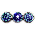 Handgemaakte bronskleurige haarknip met groene sterren. Blauwe glazen cabochons met groene millefiori sterren.