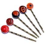 Handgemaakte rode haarschuifjes. Set van 5 bronskleurige schuifjes voor in je haar.