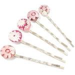 Handgemaakte haarschuifjes met roze bloemen van millefiori glas! Set van 5 schuifspeldjes