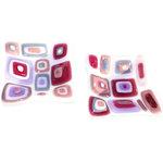 Kleine vierkante roze paarse schaaltjes. set van 2