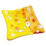 Klein geel glazen schaaltje. Theetipje van prachtig millefiori glas met bloemen!