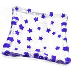 Vierkant helder glazen schaaltje met blauwe sterren!
