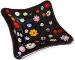 Handgemaakt zwart glazen schaaltje met multicolor bloemen! Uniek theetipje!