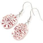 Handgemaakte oorbellen van glas met paarse millefiori bloemen!