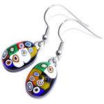Zwarte glazen oorbellen met multicolor millefiori cirkels in het glas!