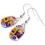 Kleurrijke multicolor glazen oorbellen gemaakt van speciaal glas met kleine gedetailleerde figuurtjes!