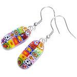 Lange oorbellen handgemaakt van gekleurd millefiori glas! Kleurrijke glazen oorbellen uit eigen atelier!