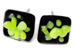 Handgemaakte zwart-groene oorknopjes van glas | Chirurgisch Staal oorbellen