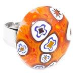 Oranje glazen ring handgemaakte glasfusing ring uit eigen atelier. Verstelbare nikkelvrije vingerring.