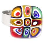 RVS roestvrij staal ring met kleurrijke cirkels glaskunst . Edelstaal vingerring met retro millefiori cirkels!