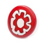 Handgemaakte rode ring van speciaal glas met een grote rode bloem. Verstelbare ring.