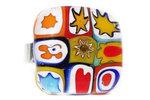 Handgemaakt glazen ring van multicolor millefiori glas!