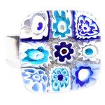 Blauwe millefiori ring van glas. Glazen vingerring met glazen cabochon uit eigen atelier.