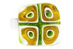 Handgemaakte groen-bruin/goud-witte glazen ring van millefiori glas!