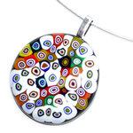 Handgemaakte ronde retro glashanger met kleurrijke millefiori cirkels!