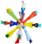 Handgemaakte multicolor kerstster van allerlei kleuren glas!