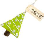 Groen met witte kerstboom hanger handgemaakt van speciaal glas!