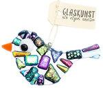 Luxe glazen vogel versierd met kostbaar dichroide glas in alle kleuren van de regenboog.