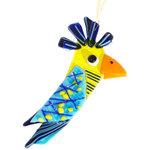 Glazen vogel van prachtig blauw en geel glas. Fraaie decoratieve vogelhanger voor balkon, tuin of huis.