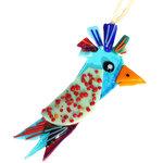 Unieke glazen vogel decoratie voor huis en tuin van blauw, rood en mintgroen glas.