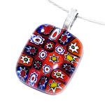 Rode ketting hanger handgemaakt van speciaal rood millefiori glas. Uniek glazen sieraad!