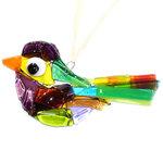Gekleurde glazen vogel, handgemaakt van speciaal glas in allerlei kleuren!