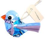 Glazen vogel hanger gemaakt van blauw en paars glas. Exclusieve glaskunst decoratie voor huis en tuin!
