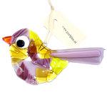 Prachtige glazen vogel gemaakt van paars en geel glas. Exclusieve glaskunst vogelhanger voor huis en tuin!