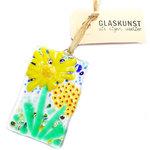 Raamhanger gemaakt van helder glas met prachtige gele millefiori bloemen. Exclusieve glazen hanger van Italiaans glas (Murano M