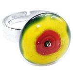 RVS edelstaal ring met geel-rood glazen kunstwerkje